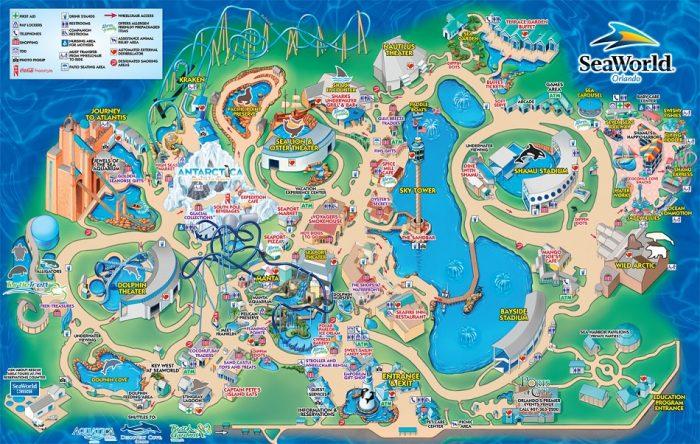 Parque SeaWorld em Orlando: mapa do parque