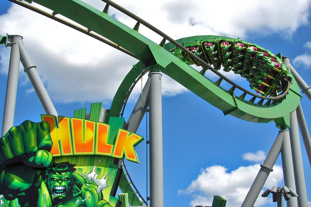 Montanha-russa do Hulk no parque Islands of Adventure em Orlando