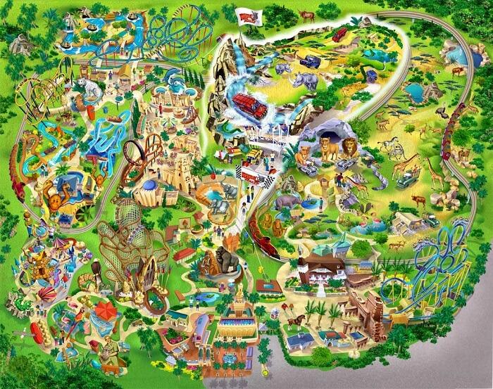 Parque Busch Gardens em Tampa: mapa do parque