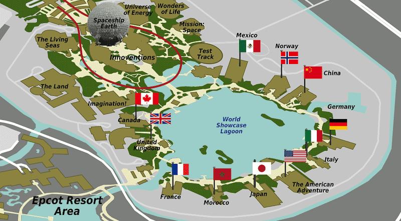 Parque Epcot da Disney Orlando: mapa dos pavilhões dos países no World Showcase
