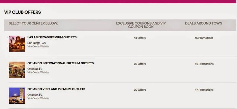Vip Club de cupons de desconto nos Premium Outlets em Orlando
