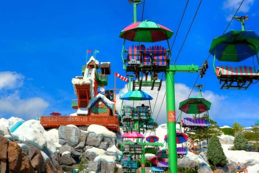 Parque Blizzard Beach da Disney Orlando: passeio de teleférico Chairlift