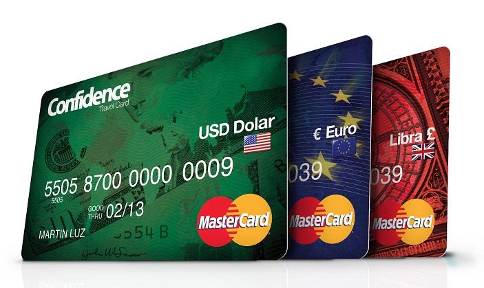 Cartão pré-pago internacional da Confidence