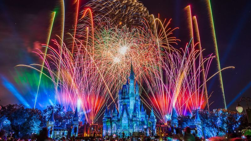 Show de fogos Happily Ever After no parque Magic Kingdom da Disney Orlando