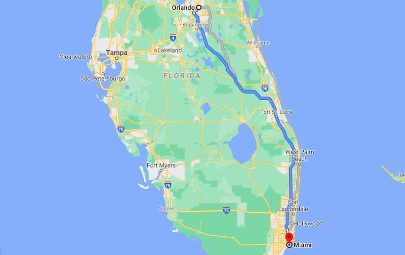 Mapa da viagem de carro de Orlando a Miami