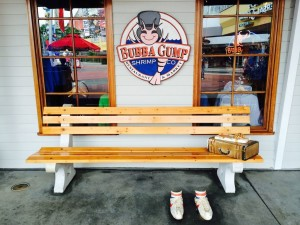 Restaurante Bubba Gump em Orlando: o famoso banco de Forrest Gump