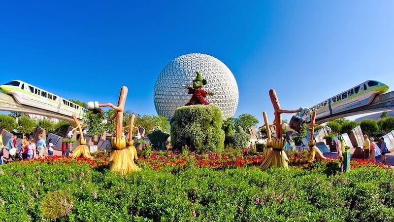 Jardim no parque Epcot da Disney Orlando
