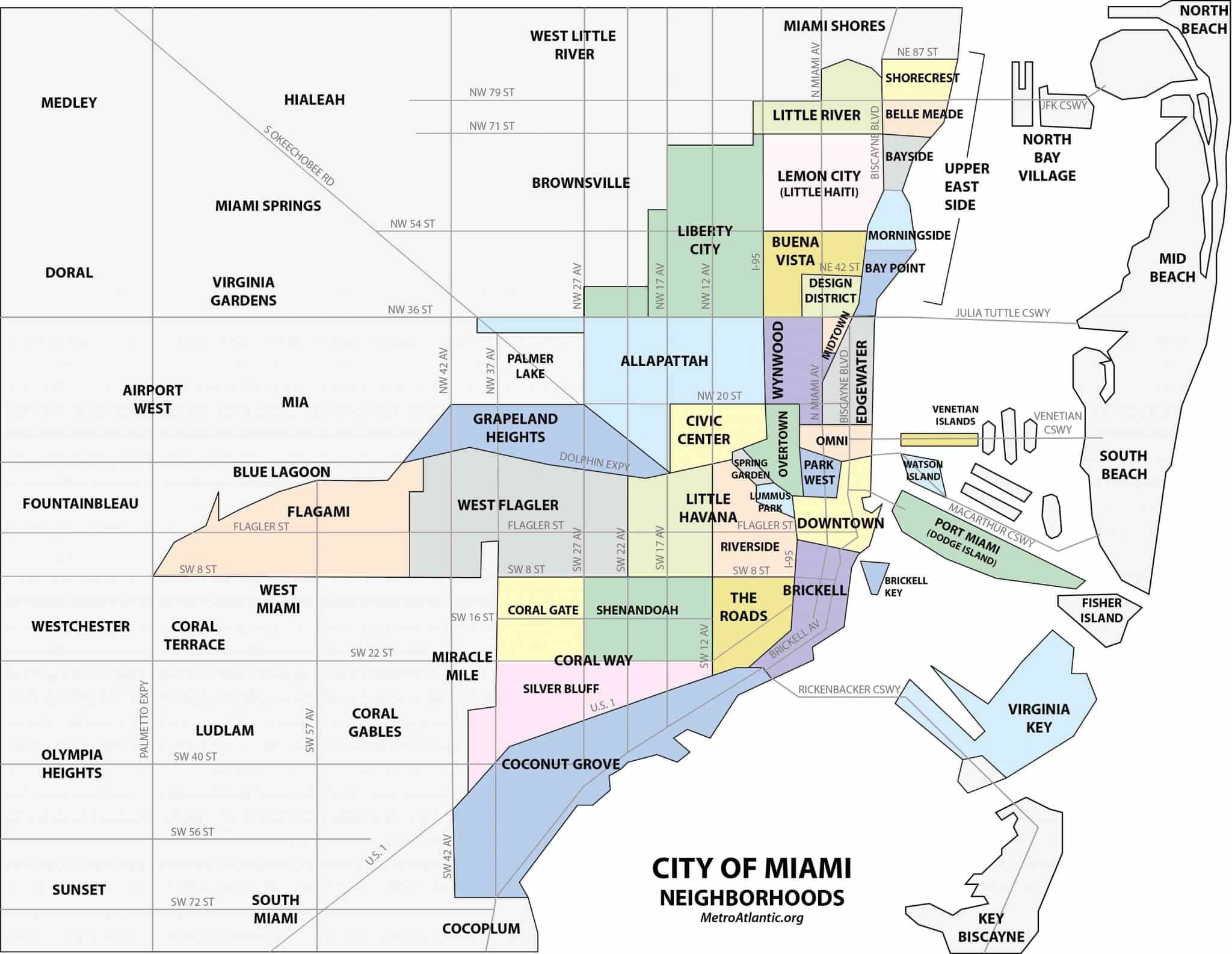 Mapa dos bairros de Miami