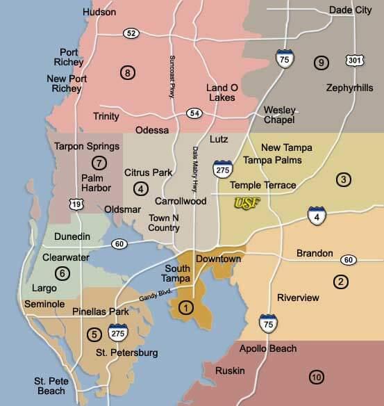 Onde ficar em Tampa: melhores regiões: mapa dos bairros de Tampa