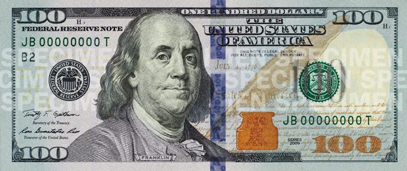 Nota nova de 100 dólares em Orlando