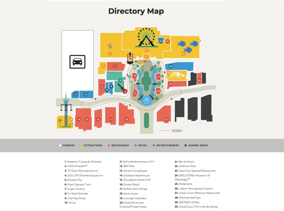Complexo ICON Park em Orlando: mapa