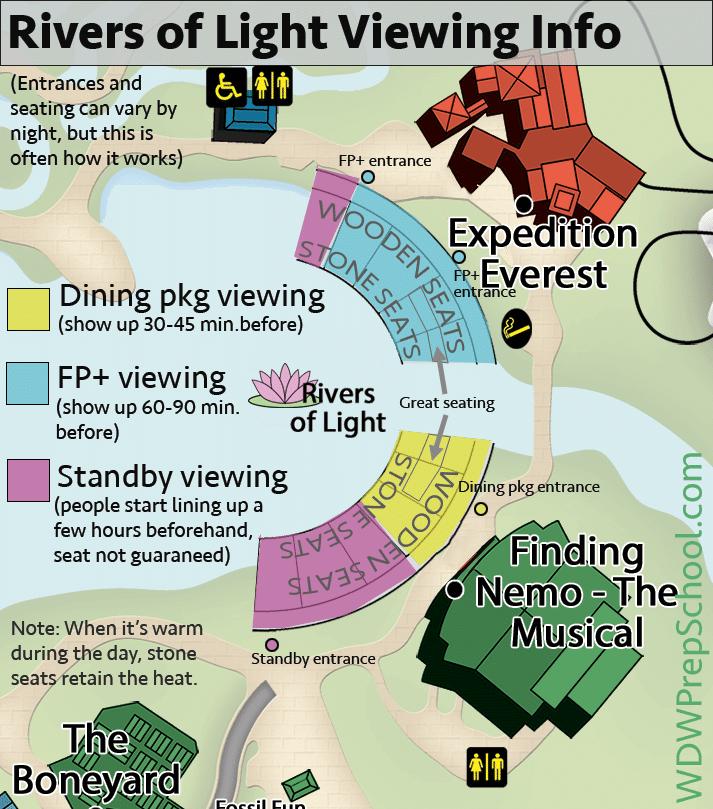 Melhores lugares para assistir aos shows da Disney Orlando: mapa Rivers of Light