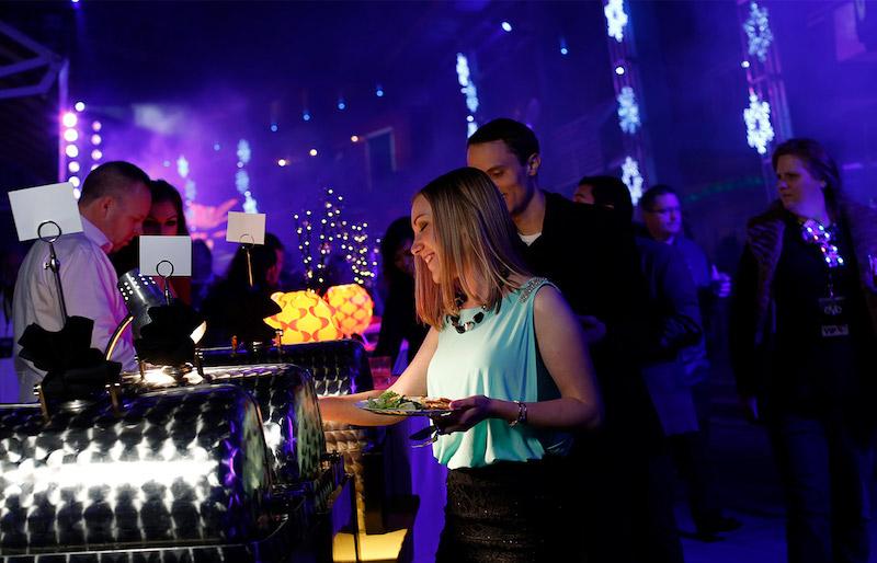 Festa de Réveillon EVE na Universal CityWalk em Orlando: comidas