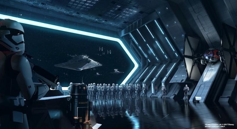 Star Wars: Rise of the Resistance no Hollywood Studios da Disney Orlando: interior da nave espacial