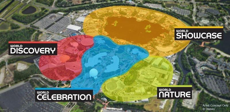 Novidades no Epcot da Disney Orlando: mapa das áreas do parque Epcot