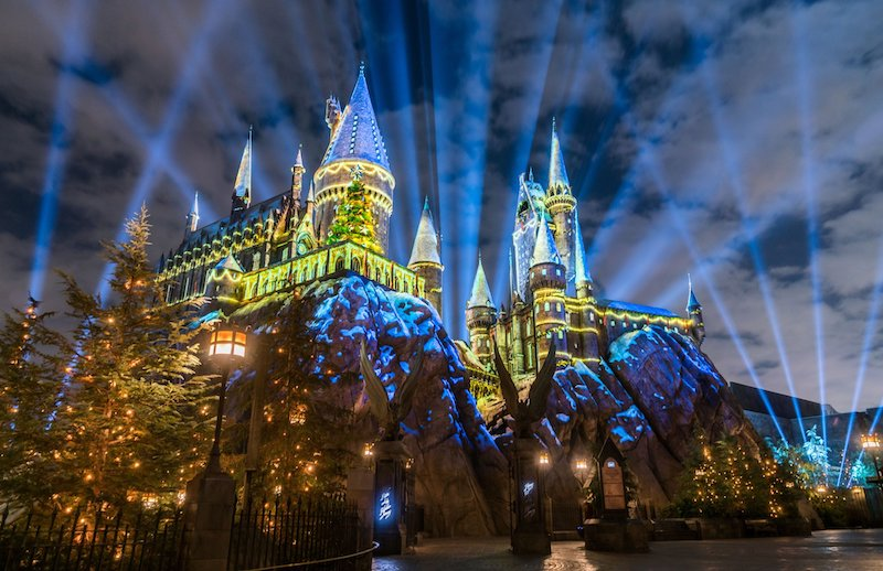 Show de Natal no Castelo de Hogwarts no Islands of Adventure