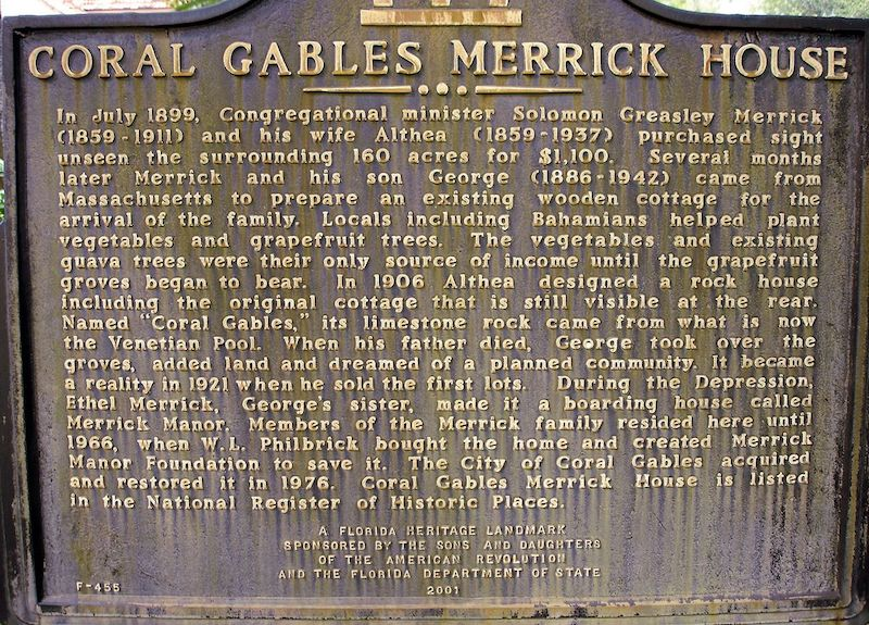 Merrick House em Coral Gables: placa de entrada