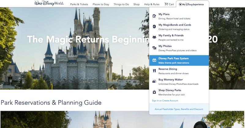 Como reservar sua visita aos parques da Disney Orlando: passo 1