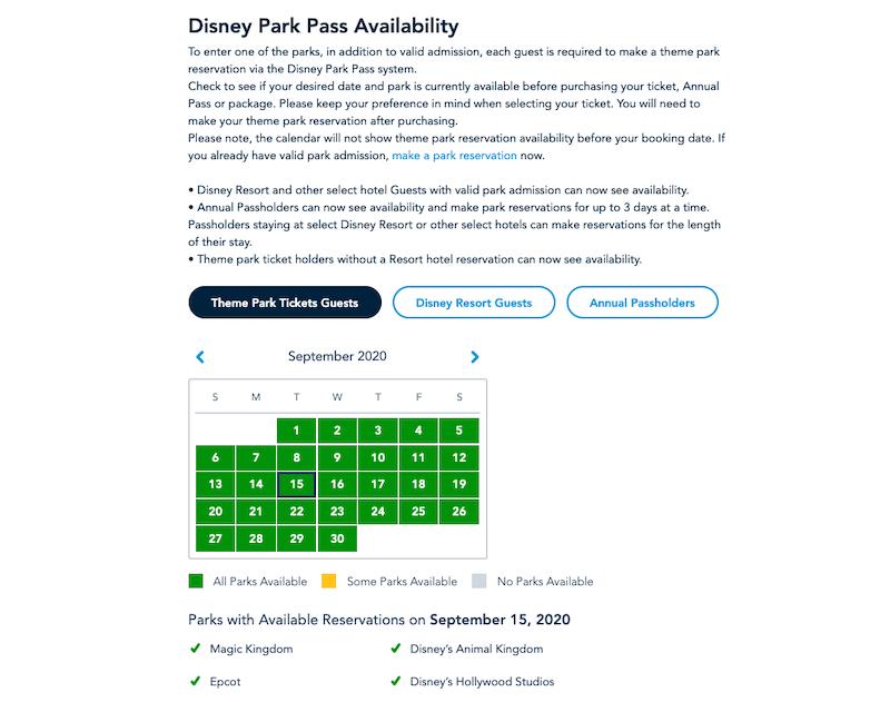 Calendário de disponibilidade de reserva dos parques da Disney Orlando