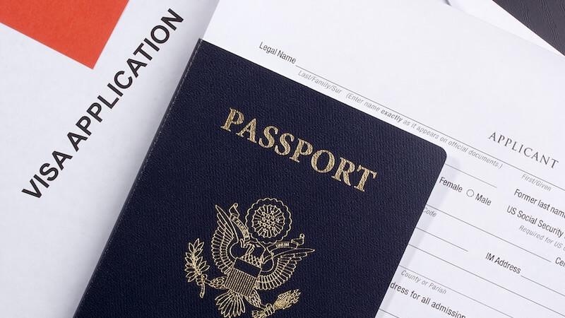 Formulário de visto e passaporte dos Estados Unidos