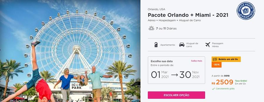 Pacote Hurb para Orlando e Miami
