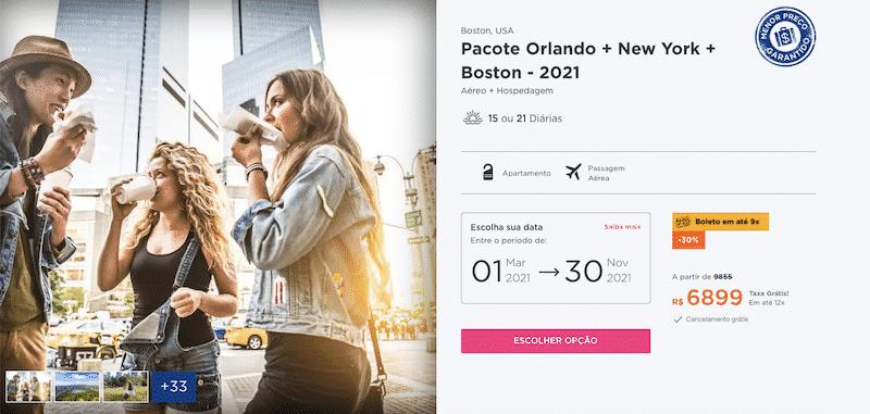 Pacote Hurb para Orlando, New York e Boston