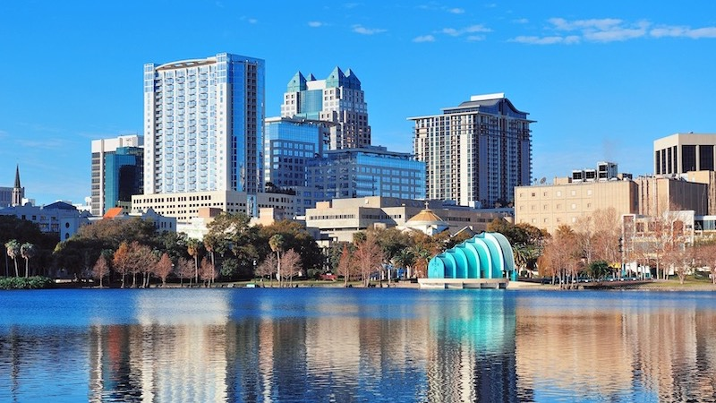 Vista do Lake Eola Park em Orlando