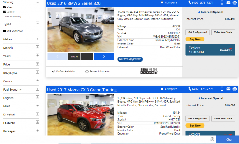 Carros da RPT Sales em Orlando