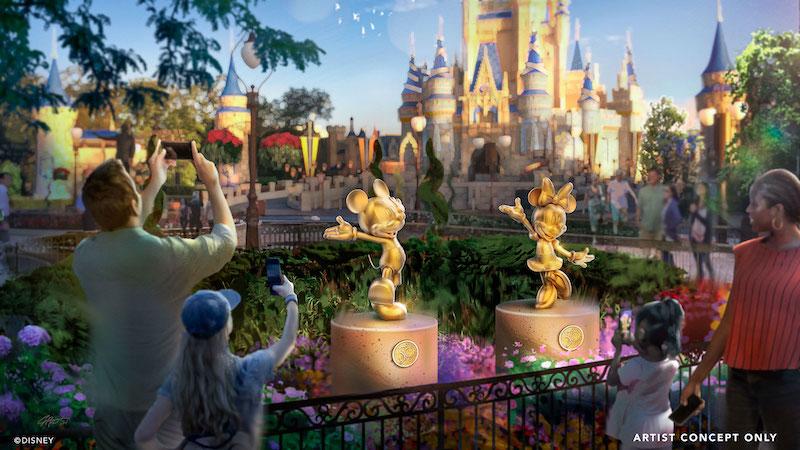 Esculturas de personagens no aniversário da Disney em Orlando